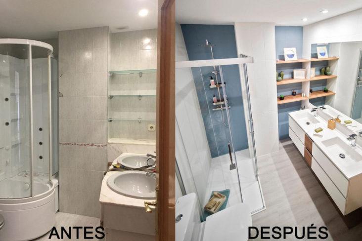 Avant et après; une salle de bain chaleureuse et fraîche ...