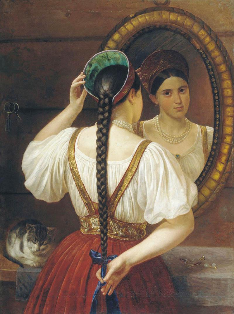 """Philip Budkin """"Fille devant le miroir"""""""