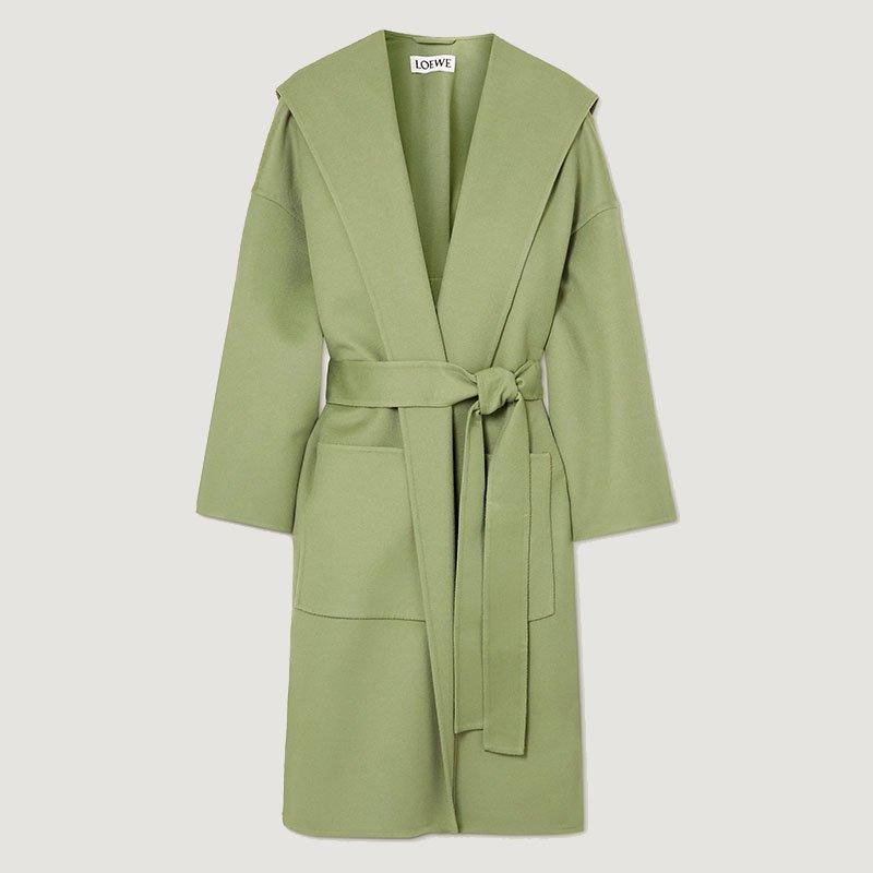 LOEWE Manteau à capuche en laine et cachemire mélangés à ceinture