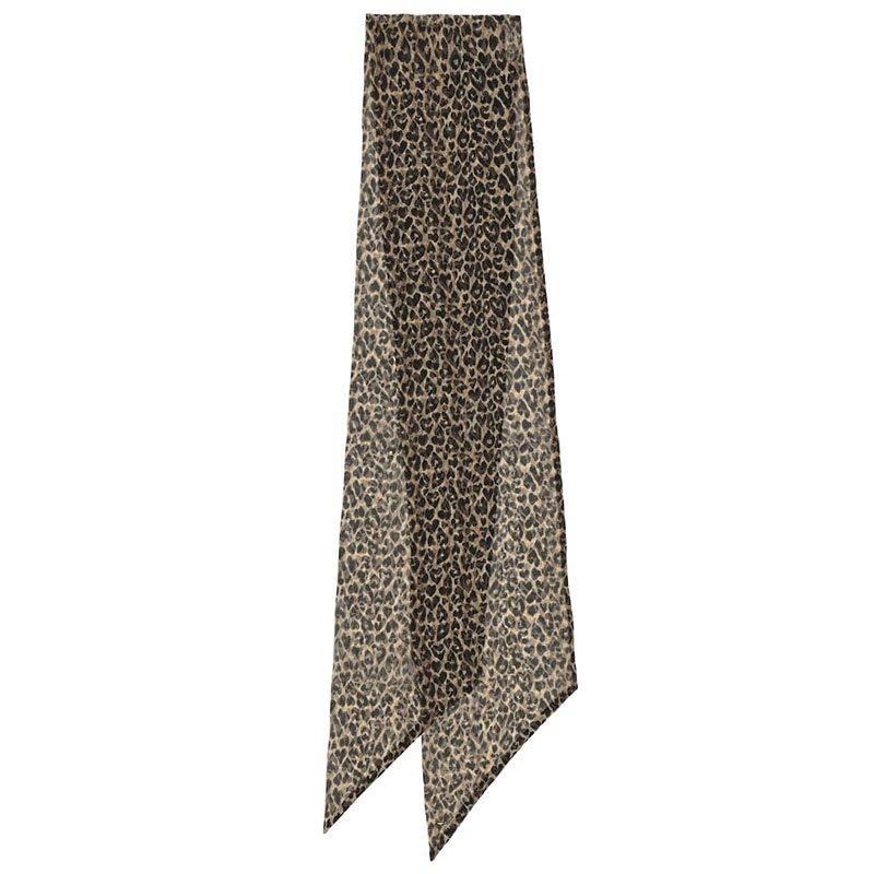 Foulard en mousseline de soie à imprimé léopard SAINT LAURENT