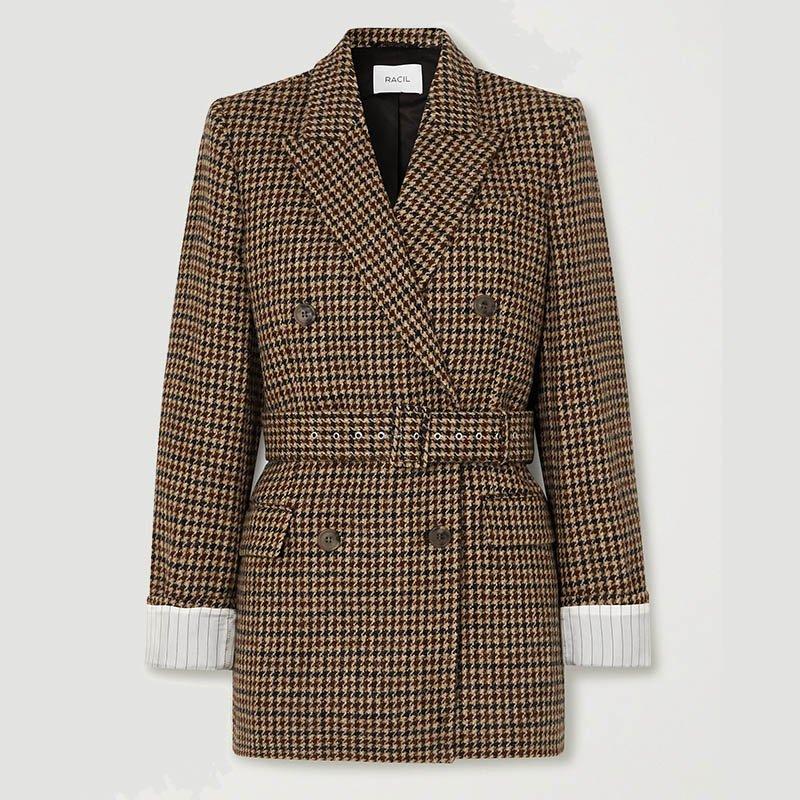 Blazer en tweed de laine pied-de-poule à double boutonnage RACIL Farrah