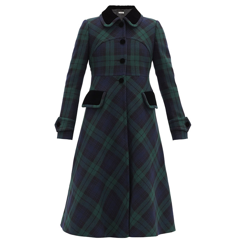 MIU MIU Manteau en laine tartan à col en velours
